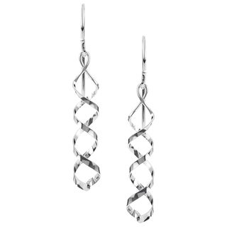 Journee Sterling Silver Handcrafted Spiral Dangle Earrings