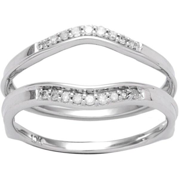 10k White Gold 1/8ct TDW Diamond Enhancer Guard Wedding Band (I-J, I2-I3)