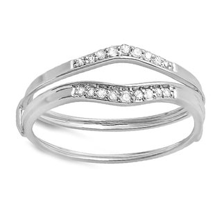 10k White Gold 1/8ct TDW Diamond Enhancer Guard Wedding Band (I-J, I2-I3)