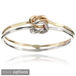 Tressa Sterling Silver Handcrafted Love Knot Double Band