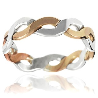 Journee Collection Two-tone Sterling Silver Handcrafted Braided Band