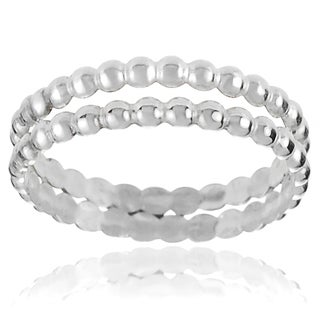Journee Collection Sterling Silver Handcrafted Textured Double Band