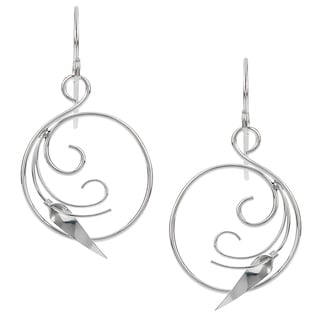 Women's Sterling Silver Swirl Calla Lily Dangle Earrings