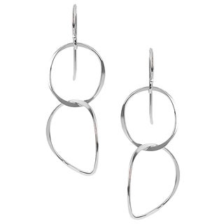 Journee Collection Sterling Silver Handcrafted Circle Dangle Earrings