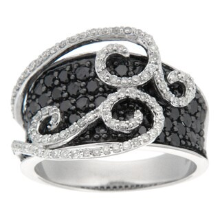 D'sire Sterling Silver 2 1/6ct TDW Black and White Diamond Ring (I, SI1-SI2)