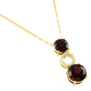 Beverly Hills Charm 14k Yellow Gold Garnet and Diamond Accent Necklace
