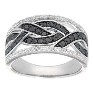 D'sire Sterling Silver 3/4ct TDW Round-cut Black and White Diamond Ring (I, SI1-SI2)