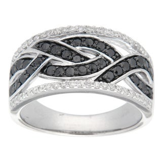 D'sire Sterling Silver 3/4ct TDW Black and White Diamond Ring (I, SI1-SI2)