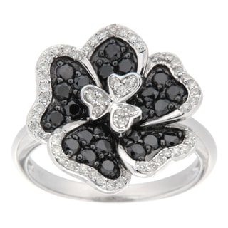 D'sire Sterling Silver 1ct TDW Black and White Flower Diamond Ring (I, SI1-SI2)