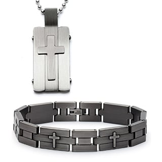 Antiqued Stainless Steel Square Cross Bracelet and Necklace Set