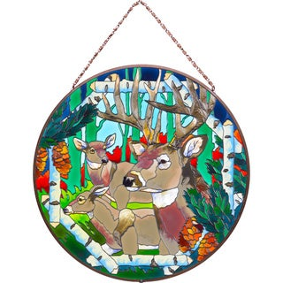 Joan Baker Deer Glass Art Panel
