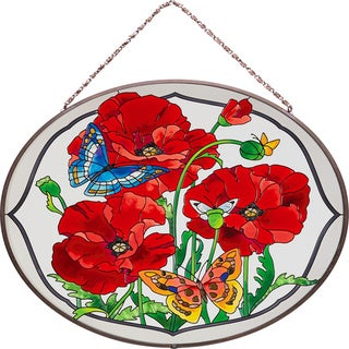 Joan Baker Poppy Garden Glass Art Panel