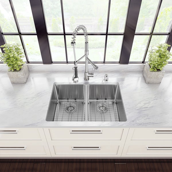 Vigo All-in-One Undermount Stainless Steel Double-bowl Kitchen Sink and Faucet Set