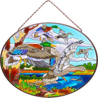 Joan Baker Ducks Glass Art Panel