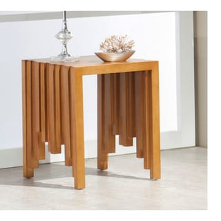 Brazilian Cherrywood Geomretric Paneled End Table