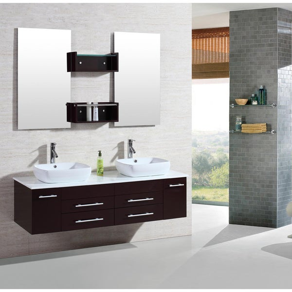 Kokols 60 inch wall mount floating bathroom vanity cabinet with mirror