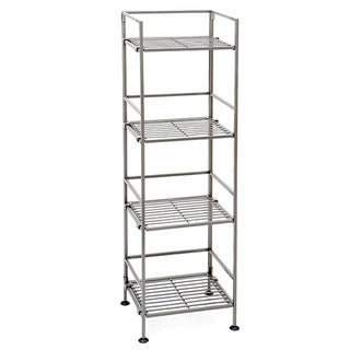 Seville Classics 4-Tier Square Wrought Iron Folding Shelf