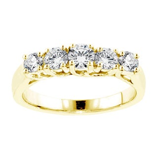 14k Yellow Gold 1ct TDW Prong Set 5-Stone Round Diamond Wedding Band (F-G, SI1-SI2)