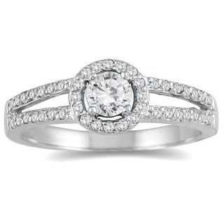 10k White Gold 1/2ct TDW Diamond Split Shank Ring (I-J, I2-I3)