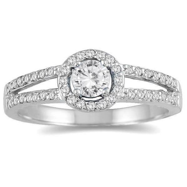 Marquee Jewels 10k White Gold 1/2ct TDW Diamond Split Shank Ring (I-J, I2-I3)