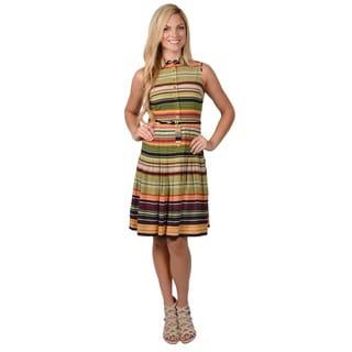 Calvin Klein Women's Striped Sleeveless Pleated Dress