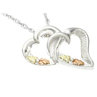 Black Hills Gold and Sterling Silver Double Heart Necklace