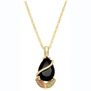 Black Hills Gold Onyx Teardrop Necklace
