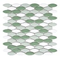 SomerTile 'Posh Ellipse Hierba' 10.25 x 12-inch Porcelain Mosaic Tiles (Pack of 10)