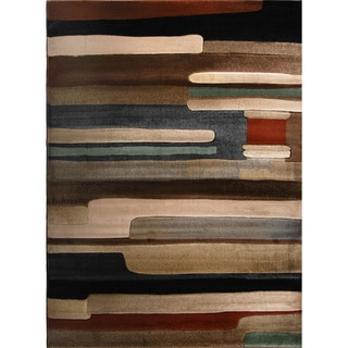 Multicolored Stripe Abstract Area Rug (3'2 x 4'5)