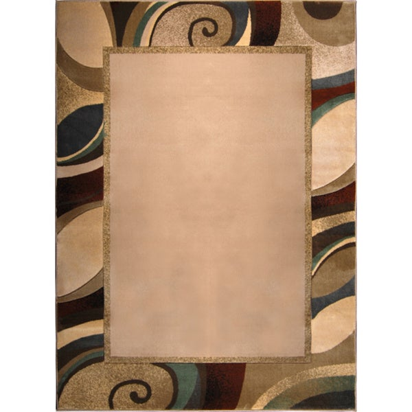 Cream/ Multi Geometric Bordered Area Rug (3'3 x 4'5)