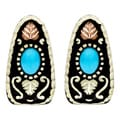 Black Hills Gold Powdercoated Brass Turquoise Earrings