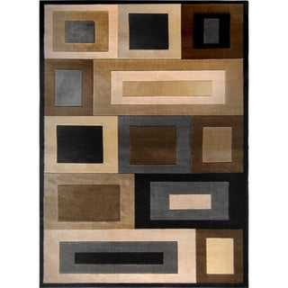 Black/ Multi Geometric Squares Contemporary Rug (5'2' x 7'2')