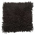 'Alexa' Hand-textured Charcoal Shaggy Square Throw Pillow