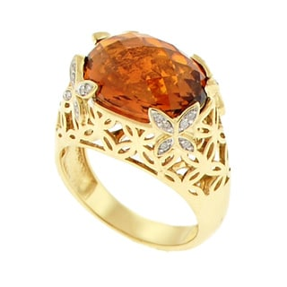 Beverly Hills Charm 14k Gold Citrine and 1/10ct TDW Diamond Ring (H-1, I1-I2)