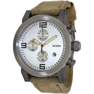 Nixon Men's Ride A3151261 Beige Leather Quartz Watch with Silver Dial
