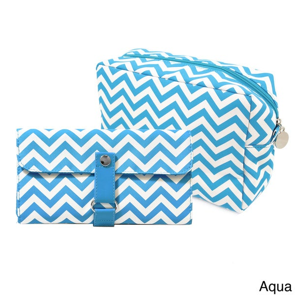 Chevron Spa Bag and Make-up Brush Set