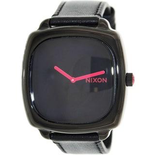 Nixon Men's 'Shutter' Black Leather Strap Watch