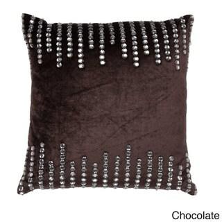 Rhinestone Paneled 18-inch Square Decorative Pillow