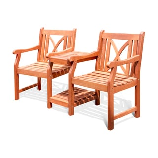 Softcross Eucalyptus Wood 2-seat Partner Armchair