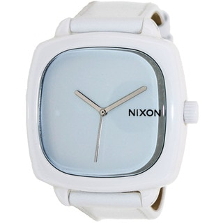 Nixon Men's Shutter A262100-00 White Leather Quartz Watch with White Dial