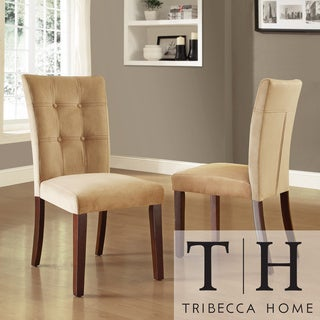 Tribecca Home Colyton Almond Brown Tufted Microsuede Side Chairs (Set of 2)
