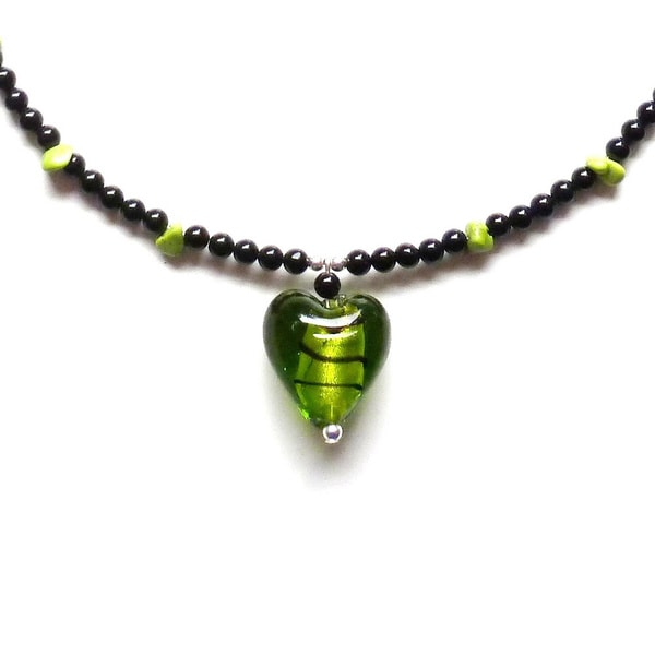 Every Morning Design Green Heart Pendant On Obsidian and Turquoise Necklace