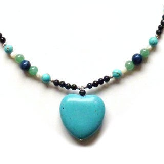 Every Morning Design Turquoise Heart Pendant On Lapis and Blue Goldstone Necklace
