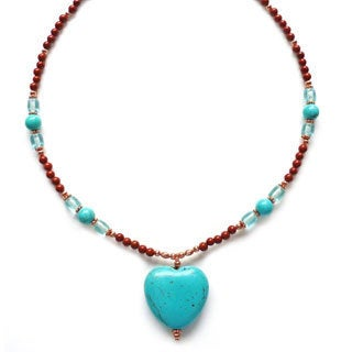 Every Morning Design Blue Turquoise Heart and Copper Necklace