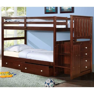 Donco Kids Mission Twin Stairway Bunk Bed with Underbed Drawers