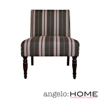 angelo:HOME Bradstreet Founding Stripe Gray and Plum Armless Chair