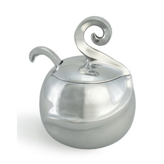 Polished Aluminum Sugar Bowl with Spoon