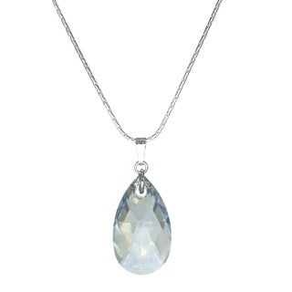 Jewelry by Dawn Large Light Blue Shade Crystal Pear Sterling Silver Necklace
