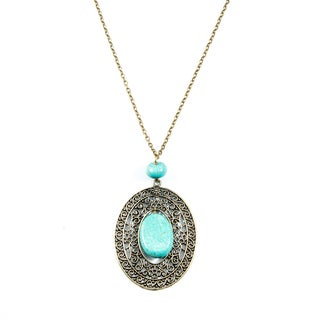 Turquoise Howlite and Antique Gold Pendant Necklace (China)