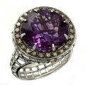 Beverly Hills Charm 14k Gold Amethyst and 1/3ct TDW Brown Diamond Ring